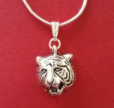 Tiger Necklace Charm Pendant and silver plated chain tigers wild animal zoo