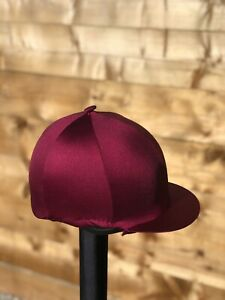 Horse riding hat Cover silk In Burgundy