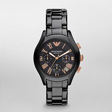 New Emporio Armani AR1411 Women Black Ceramica watch w/ rose gold