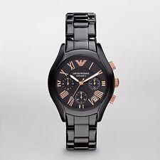 New Emporio Armani AR1411 Women Black Ceramica watch w/ rose gold