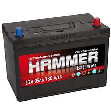 Autobatterie Hammer 12V 95Ah +Rechts Asia Starterbatterie ersetzt 90 92 100 Ah