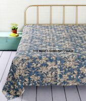 Double Bed Size Handmade Blanket Kantha Quilt Cotton Home Decor Bed Cover Blue