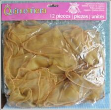 ORGANZA FAVOR POUCHES Round light brown 12 pcs drawstring Wedding NEW