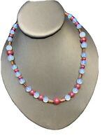 Vintage Pink Blue White Moonglow Art Glass Beaded Pendant Beaded Necklace 18""