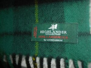 "Unworn Lochcarron Highlander Collection 100% Lambswool Scarf 11 1/2"" x 52""."