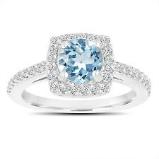 Platinum Blue Aquamarine And Diamonds Engagement Ring 1.24 Carat Certified