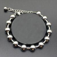 Men Women Silver Stainless Steel Round Bead Bracelet Bangle Wristband Cuff Chain