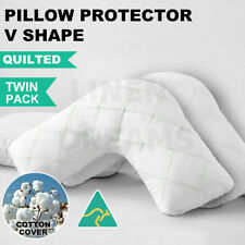 2 x Aus Made V-Shape/Tri/Boomerang Pillow Protector-Zipped Quilted Cotton Cover