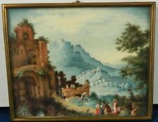 Antique Framed Miniature Hand Painted Scene Bucolic Scene Signed Italy