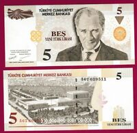 TURKEY - 5 NEW LIRA - 5 YTL - UNC - 2005 - A SERIAL