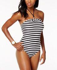231d994f79e4 MICHAEL KORS Logo Ring One Piece Swimsuit BLACK + WHITE STRIPED SIZE 8 NWT   118