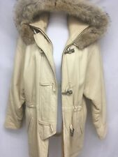 Andrew Marc Womans Tan/ Beige Butter Soft Leather Coyote Fur Jacket Coat S/P