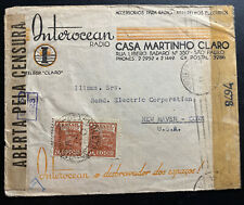 1944 Sao Pablo Brazil Censored Radio Advertising Cover To New Hacen CT Usa