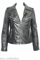 Roxy Ladies Black WASHED Biker Motorcycle Style Soft Real Nappa Leather Jacket