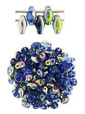 10g Sapphire Vitral SuperDuo 2 Hole Czech Glass Seed Beads 2x5mm