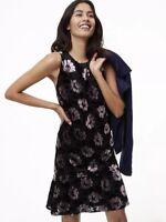 NWT Womens Ann Taylor LOFT Black Floral Sleeveless Velvet Swing Dress Sz Large