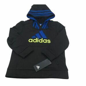 New Adidas Little Boys Black Blue Hoodie Size 4