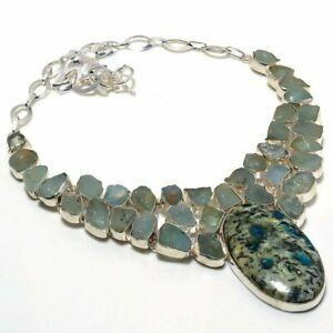 K2 Azurite, Chalcedony Rough 925 Sterling Silver Jewelry Necklace 18 6200