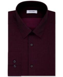 Calvin Klein Steel Men's Slim Fit Herringbone Dress Shirt Bordeaux