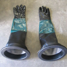 Pair of 23.6'' Heavy Duty Gloves with 2 Glove Holders for Sand Blast Cabinet