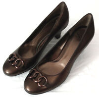 Sofft Heels Shoes Womens Sz 8.5 Chocolate Brown Iridescent Leather Upper Chain