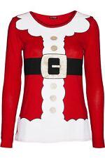 Women Ladies Christmas Reindeer Xmas Snowflakes Round Neck Long Sleeve T Shirt