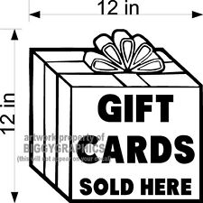 GIFT CARDS SOLD HERE VINYL DECAL FOR STORE WINDOWS OR DOORS