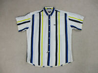 VINTAGE Ralph Lauren Chaps Button Up Shirt Adult Large White Yellow Mens 90s*