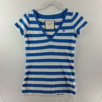 Abercrombie & Fitch Womens Pullover Top Medium Blue Striped Fitted Short S
