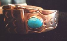 NATIVE AMERICAN ETCHED STERLING SILVER AND TURQUOISE LADIES WATCH CUFF