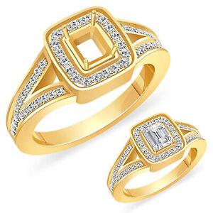 0.70Ct G VS2 Round Real Diamond Emerald Setting Engagement Ring 14k Yellow Gold