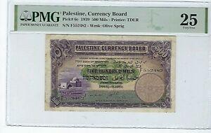 PALESTINE CURRENCY BOARD 1939 P6 6c 500 Mils PMG 25 VF