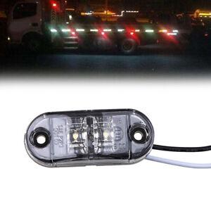 Oval White 12V Side Indicator Marker Lights Clearance Lamps Truck Trailer 2 LED