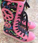 JUSTICE Girls Graffiti Print Mid Calf Sneakers Size 13