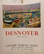 AFFICHE ANCIENNE EXPOSITION DESNOYER BRETAGNE GALERIE M GUIOT PARIS 1960 MOURLOT