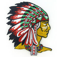 Native American Indian Chief Head Embroidered Iron on Patch #PID011