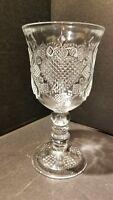 "Avon 1978 Clear Glass Hearts Diamonds Wine Water Goblet 7"" Fostoria"