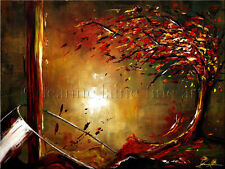 Limited Edition Giclee of Artist Original Autumn Fall Tree Red Wine Art Painting