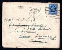GB 1937 KGV 2d Cover to France then Luxembourg Posted twice WS18224