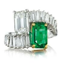 Green White Emerald Solid 925 Sterling Silver Bypass Party wear Ring for Women