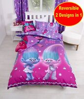 NEW DREAMWORKS TROLLS GLOW SINGLE DUVET QUILT COVER SET GIRLS KIDS PINK BEDROOM
