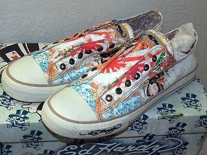 ED HARDY Laceless Low Top Shoes Men's size 11 Japan,  Geisha, Skull Flowers