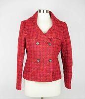 TALBOTS Size 10p Red pink & black wool tweed knit blazer suit jacket long sleeve