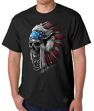 Patriotic Chief Skull T-SHIRT ~ Native American Tee ~ Indian Headdress