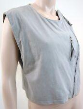 IRO Designer Ladies Pale Green / Grey Soft Suede Zip Front Waistcoat Jacket UK12