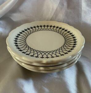 """4 Vintage Syracuse China Black & White Fleur-de-Lis Lace 5 1/2"""" Saucer Plates"""