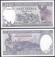 Rwanda 1989 Hundred 100 Francs Zebra UNC (P-19)