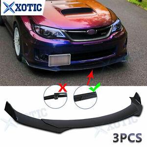 3 pcs Black Front Bumper Chin Lip Spoiler Splitter Extension Body Kit For Subaru