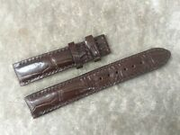 18mm/16mm Genuine Alligator Crocodile Leather Watch Strap Band,Dark Brown