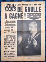 La Une Du Journal Paris Jour 20 Décembre 1965 Deuxième Élection De De Gaulle